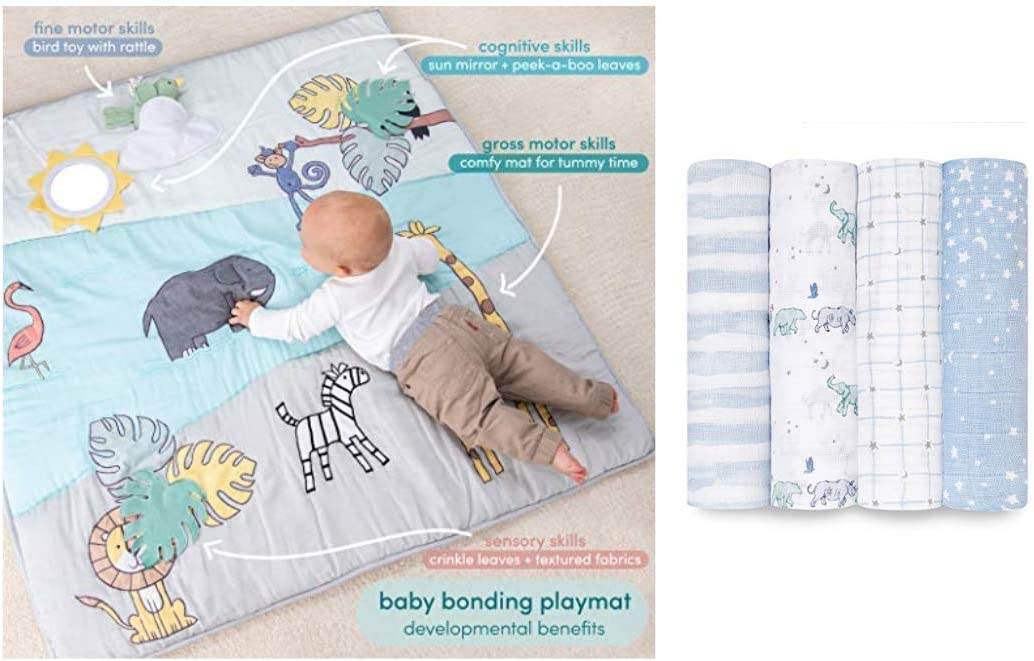 aden + anais Baby Bonding Playmat and Rising Star Swaddle Blanket 4 Pack Gift Set Bundle