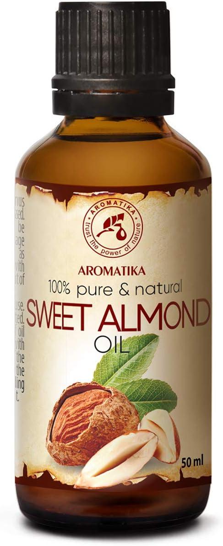 Aceite de Almendras Dulces 50ml - 100% Puro & Natural - Prunus Amygdalus - Italia - Cuidado para Cara - Pelo - para Masaje - Cuidado Corporal - Sweet Almond Oil