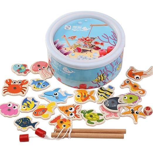 Juguete de pesca de madera magnética, 23 piezas, juguete de ...