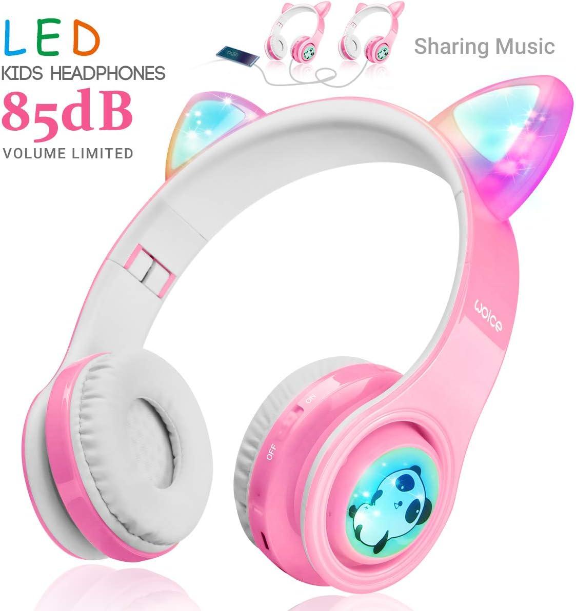 Auriculares Cat Ear Niños  Bluetooth microfono led rosa