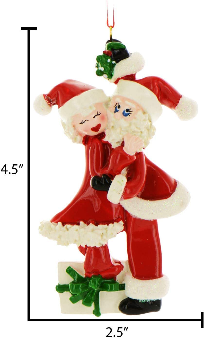 Personalized Mistletoe Santa Mrs Claus Christmas Tree Ornament 2020 Happy Cute Couple Red Suite Hug Mr Our 1st Eve Gift First Family Two Present Year Free Customization Kitchen