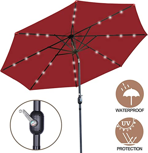 Nova Microdermabrasion 10 ft Solar LED Lighted Patio Outdoor Umbrella with Tilt Adjustment and Crank Lift, Perfect for Patio, Garden, Backyard, Deck, Poolside, Balcony and Beach