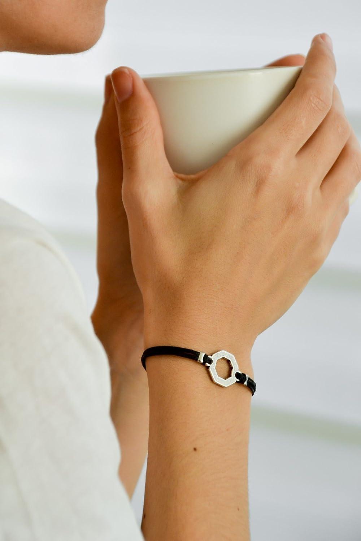 Hexagon bracelet, women bracelet with silver hexagon charm, black bracelet, minimalist geometric jewelry, black cord, birthday gift for her