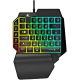 Keyzone One Handed Gaming Keyboard Keypad, Colorful Backlight, 39 Keys