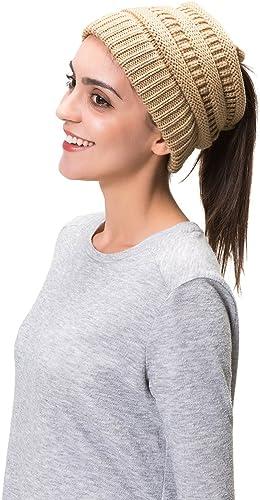 Hiver Femmes doux désordonné haute Bun Cap queue de cheval extensible Knit Beanie Crâne Chapeau