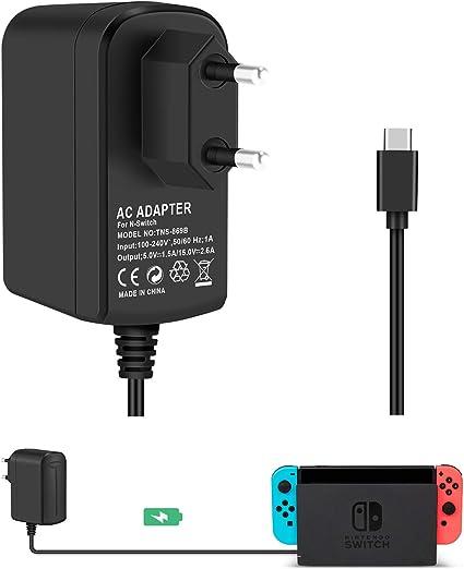 Adaptador de Corriente KINGTOP para Conmutador de Nintendo Cable de Tipo C Cargador de Viaje de Pared Estación de Acoplamiento Dock de Consola y Controladores para Nintendo Switch Pro Controller: Amazon.es: Videojuegos