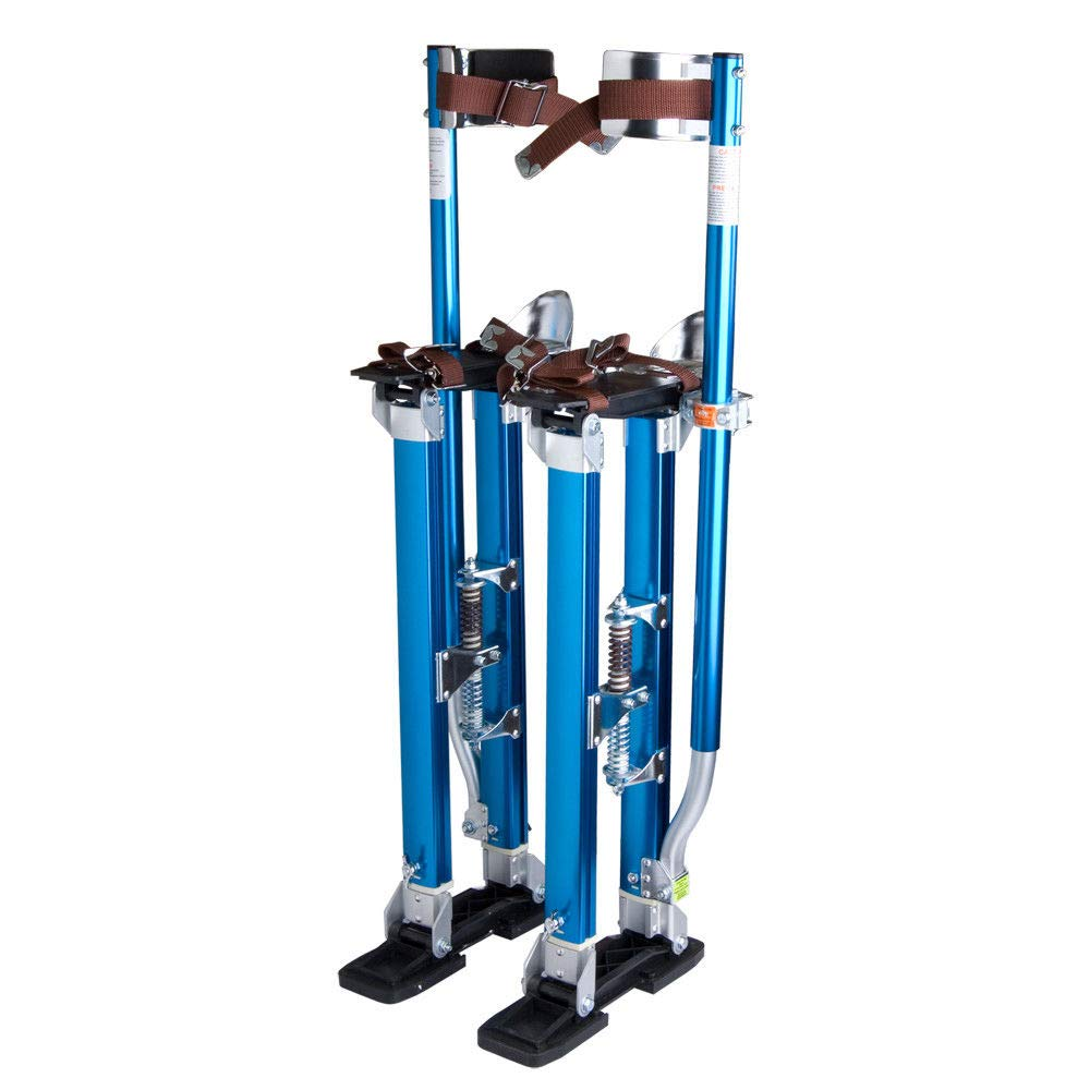 Blue Aluminum Drywall Stilts Painters Walking Tool w/Adjustable Height with Ebook