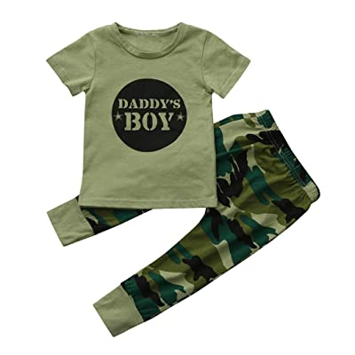 43ada20ae16 Moonker 2Pcs Newborn Toddler Baby Boys Letter Tops Camouflage Pants Outfits  Clothes Set 0-18M