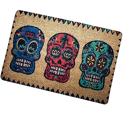 Doormat Personalize Day of The Dead-Candy-Skulls Custom Doormat (L23.6