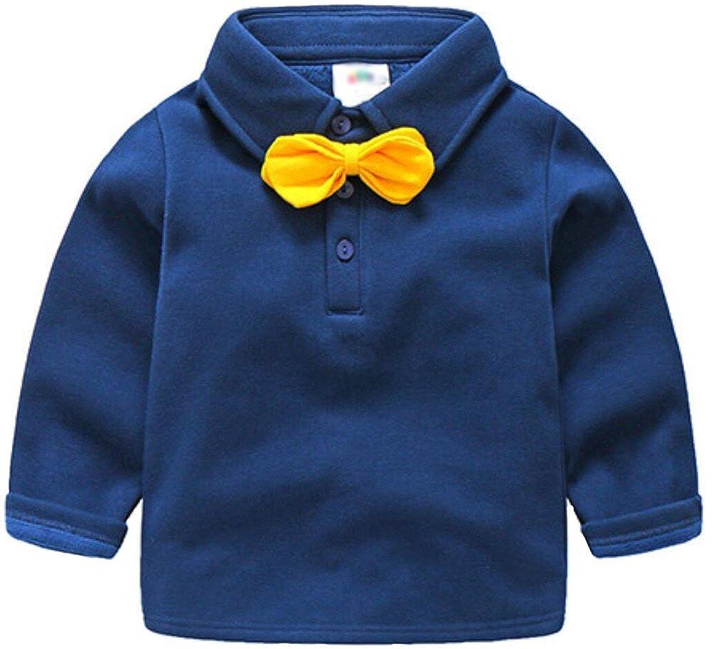 Youngate Little Boy Bowknot 3 Button Plain Pique Polo Shirt Long Sleeve All Polo