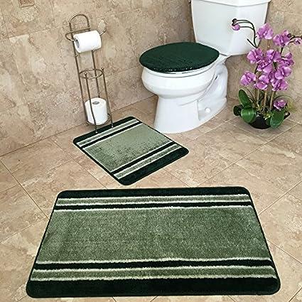 3 piece bathroom rug sets anti bacterial rubber back non skid - Bathroom Rug Sets