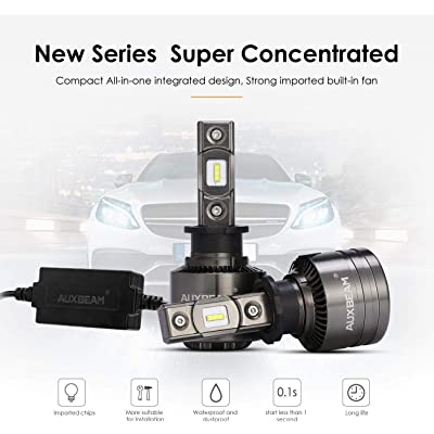 Auxbeam Led Headlight Bulbs F-T1 Series H3 Led Bulb 70W 8000lm 6000K Pure White LED Chips Conversion Kits Single Beam with Temperature Control: Automotive [5Bkhe2003680]