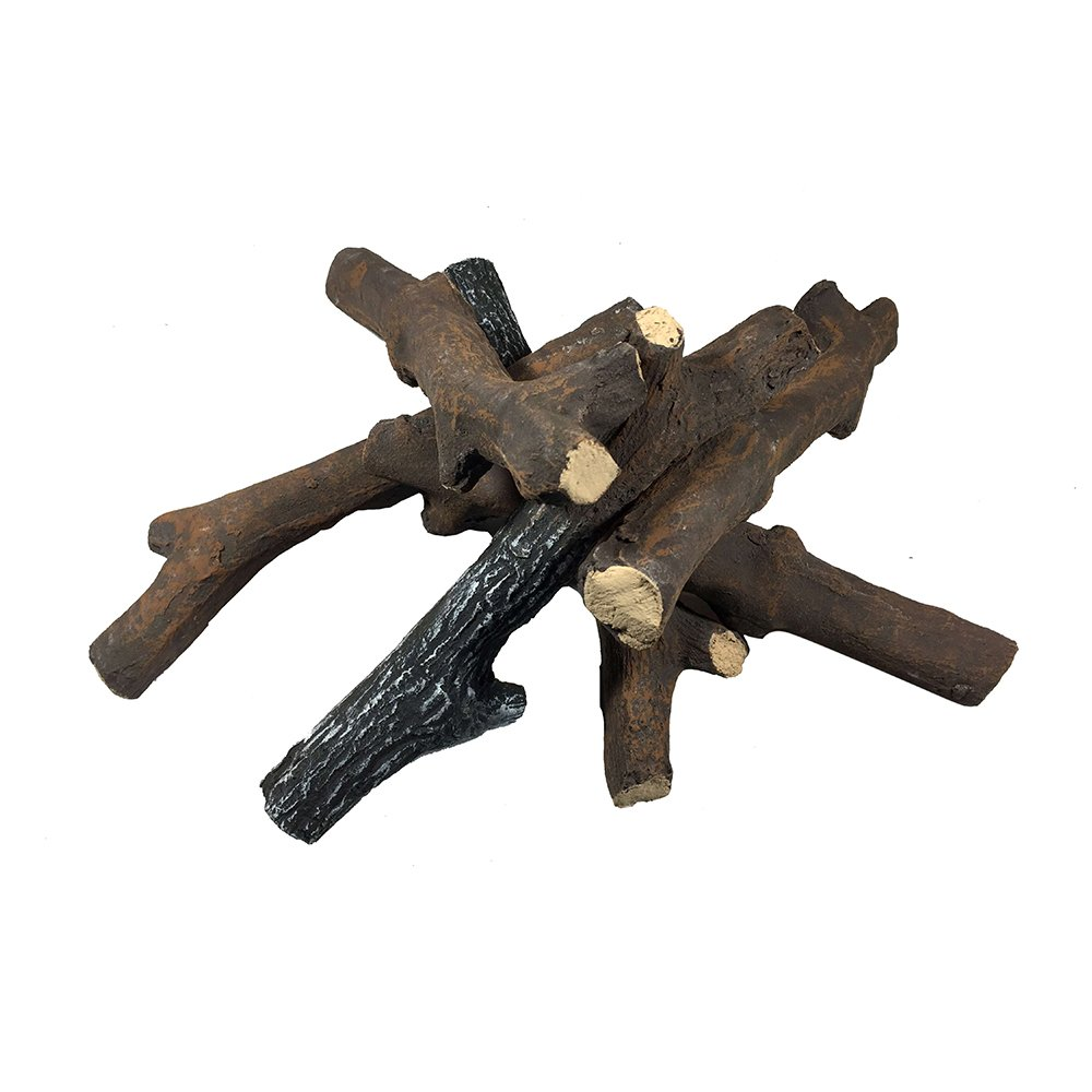Modeno 6 Piece Ceramic Wood Set of Fireplace Logs for All Types of Ventless, Vent-Free, Propane, Gas, Gas Inserts, Gel, Ethanol, Electric, Indoor, Outdoor Fireplaces and Fire Pits OCEAN ROCK