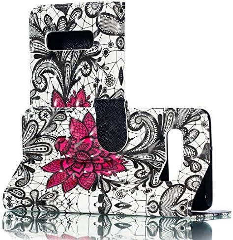 あなたの携帯電話を保護する ホルダー&カードスロット&財布&フォトフレーム付きギャラクシーS10 +のための3Dレースの花柄の水平フリップPUレザーケース