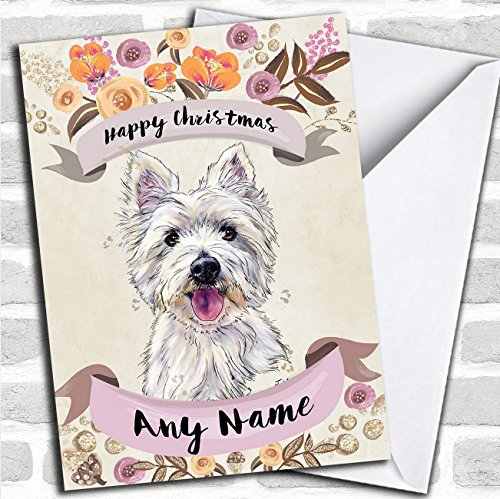 (Rustic Gold Dog Westie West Highland Terrier Personalized Cute Christmas Card)
