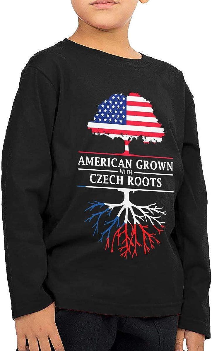 HADYKIDSLOVE American Grown with Czech Roots Kids T-Shirt Long Sleeve Boys Girls T-Shirt