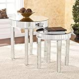 Ergode Round Mirrored Nesting Table 2pc Set