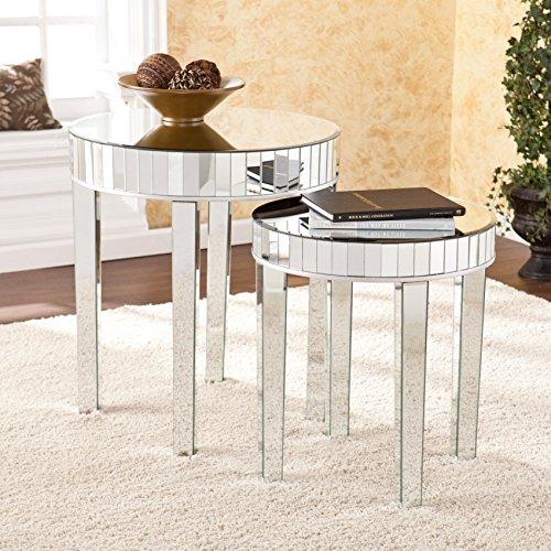Ergode Round Mirrored Nesting Table 2pc Set by Ergode