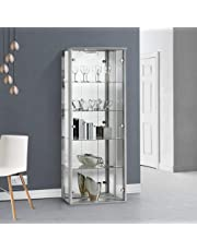 Displaysense Lockable Glass Display Cabinet with Lighting - 670mm (Colour Options Available)