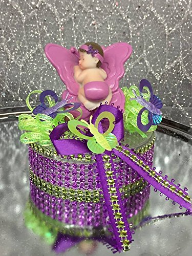High Quality Baby Shower Girl On Butterfly Lavender Party Favor Cake Topper Decoration  New