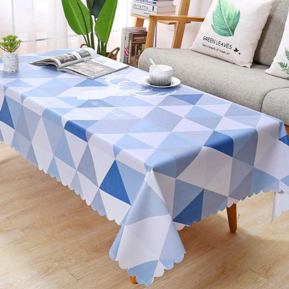 WJJYTX gartentischdecke eckig, Square Wipe Clean, Vinyl/Kunststoff TischdeckePVC Couchtisch Tischdecke einfaches Dreieck @ 137 * 182