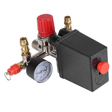 Regulador de Presión de Válvula de Presión Interruptor de Presión Válvula Reguladora con Manómetro Dobles 90