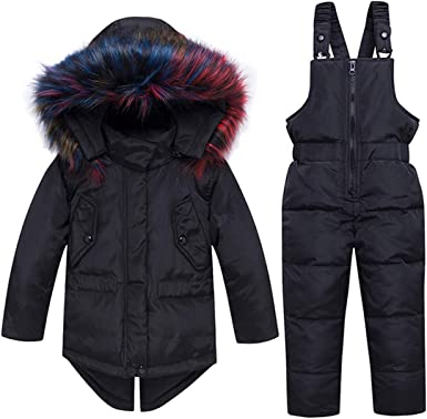 Hayisugar Kids Baby Toddler Winter Snowsuit Boys Girls Jacket Hoodie Coat Down Snowpants Bib Down Coat 2 Piece Clothing Outfit Set