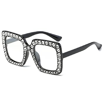 6745070ac6e Fheaven Womens Fashion Artificial Diamond Cat Ear Quadrate Big Metal Frame  Brand Classic Sunglasses (E