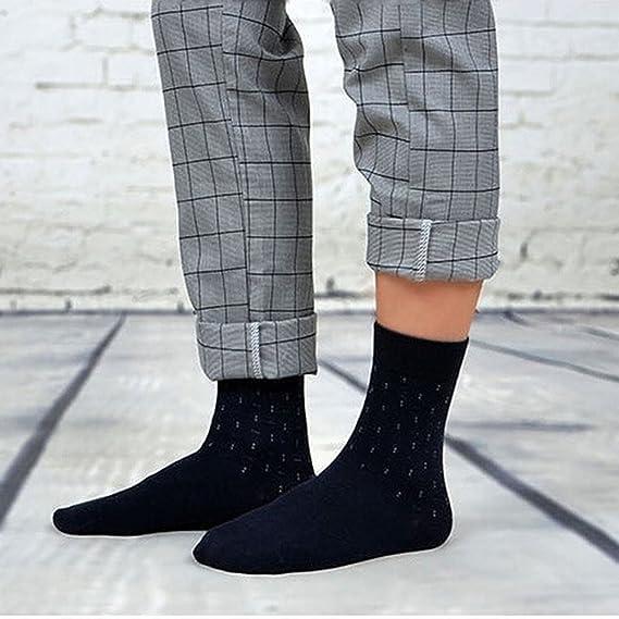 OULII Calcetines para Hombre Calcetines Algodón Antideslizante Cómodo para Hombres Otoño Invierno 5 Pares (Punto