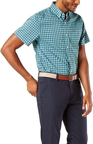Dockers Camisa de manga corta con botones para hombre - Azul - Small: Amazon.es: Ropa y accesorios