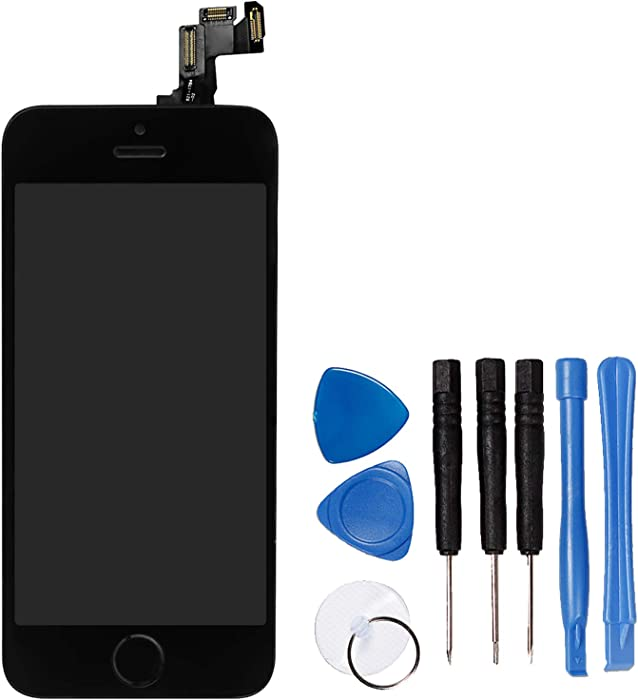 for iPhone 5s/ iPhone SE Digitizer Screen Replacement Black - Ayake 4'' Full LCD Display Assembly with Home Button, Front Facing Camera, Earpiece Speaker Pre Assembled and Repair Tool Kits