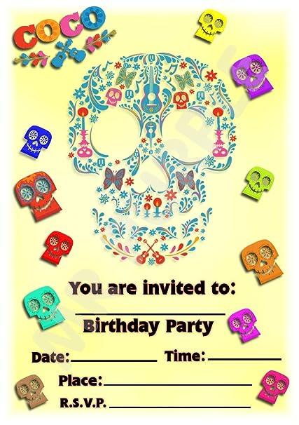 Disney Coco - Invitaciones para fiesta de cumpleaños (12 ...