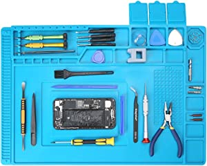 Lifegoo Heat Insulation Silicone Repair Mat with Scale Ruler and Screw Position, Electronics Repair Pad for Soldering Iron, Repair Watch,Phone and Computer Size:17.7 x 11.8 Inches- Blue