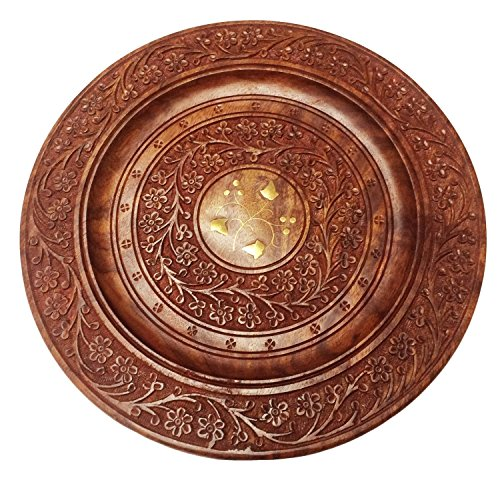Handcarved Decorative 13 X 13 Inch Wooden Beautiful Handmade Serving Round Plate, Kitchen Tray With Flower Design and Carved Brass Inlay Perfect for Serving Food, Cold Drinks, Snacks & Coffee