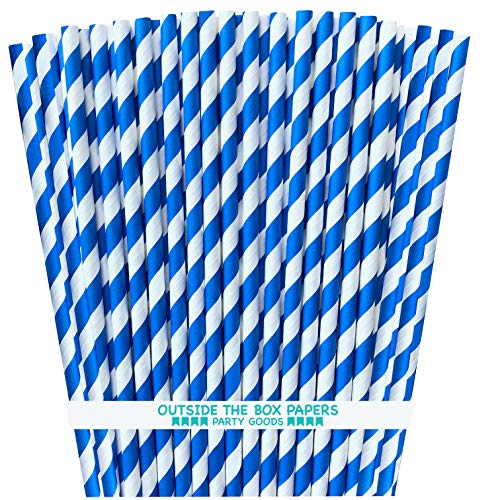 - Striped Paper Straws - Royal Blue and White - 7.75 Inches - 100 Pack - Outside the Box Papers Brand