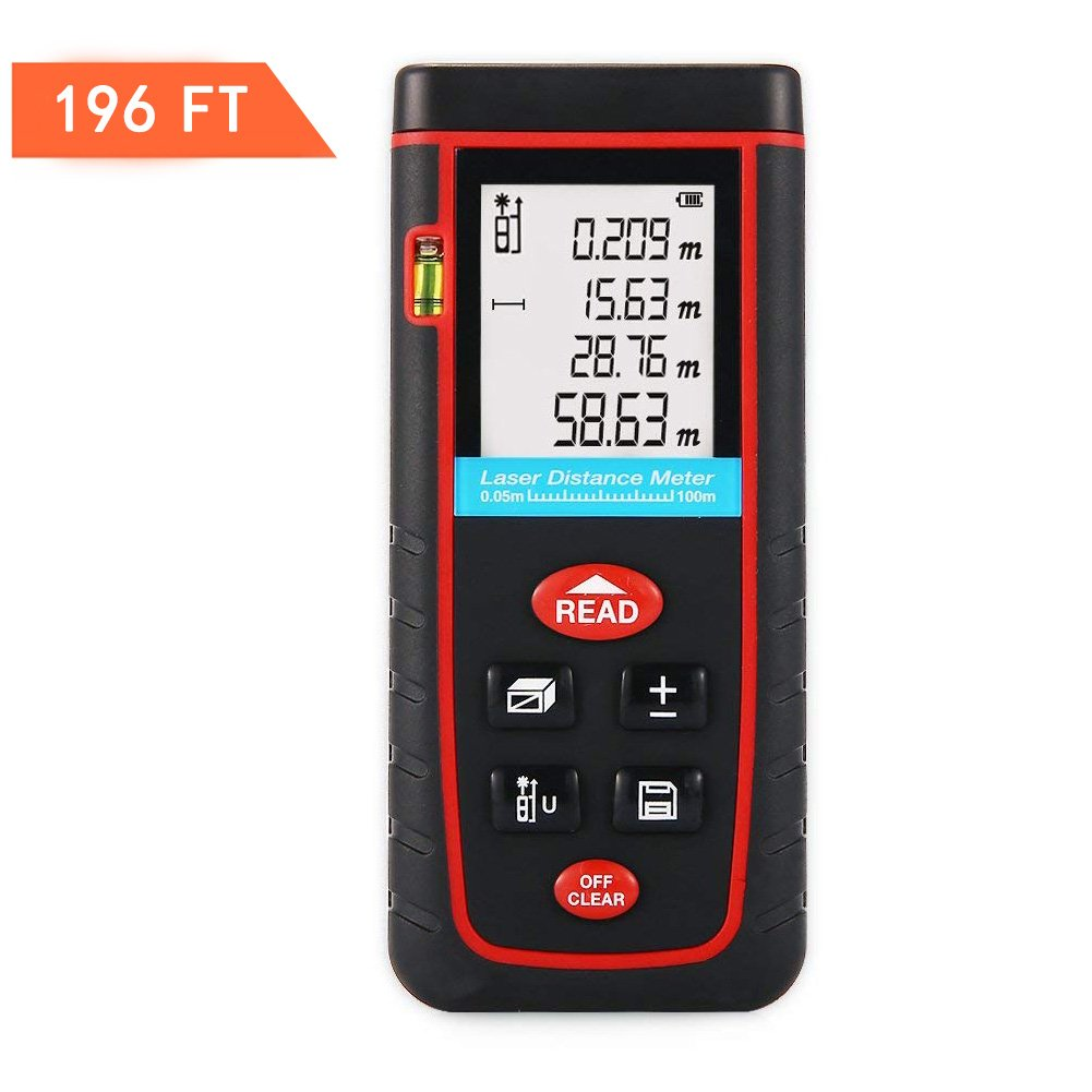 TopOne Digital Laser Measuring Tape Laser Measurement Tool with LCD Backlight Display for Distance and Angle Measurement,Area and Volume Calculation (Accurancy:0.2 cm) (S-196Ft)