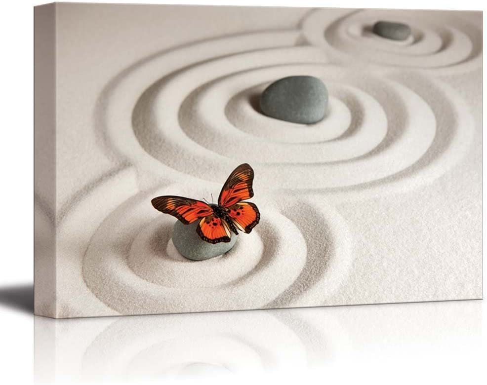Canvas Prints Wall Art - Circles on White Sand and Zen Rocks with Butterfly | Modern Wall Decor/Home Art Stretched Gallery Canvas Wraps Giclee Print & Ready to Hang - 12