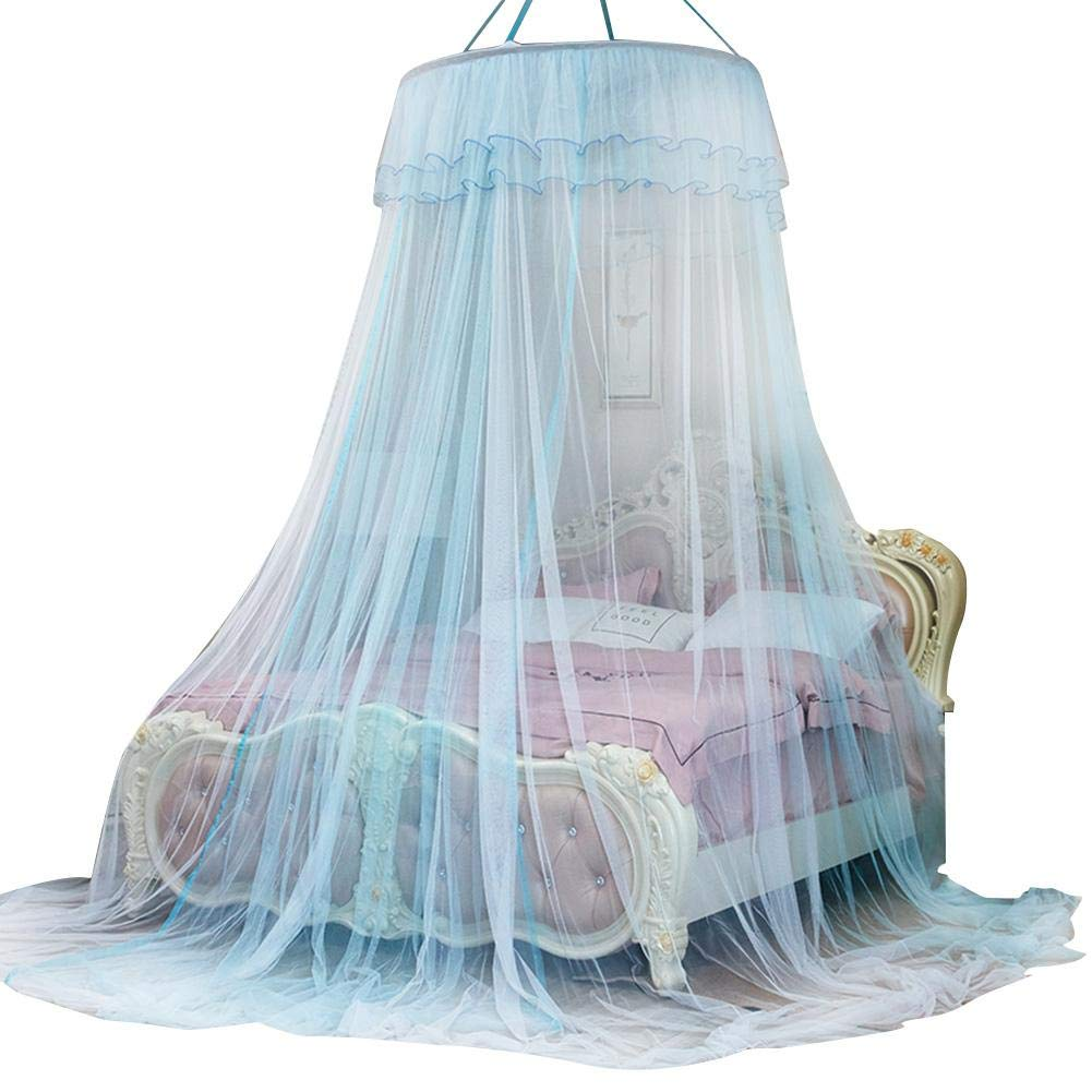 Aufee Bed Canopy, Dual Color Round Bed Mosquito Net, Lace Princess Style Bed Curtain for Ladies' and Girls' Bedroom Decoration(White+Blue)