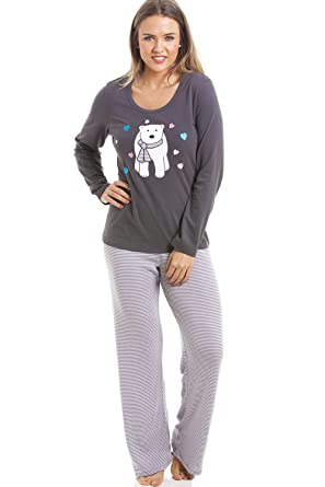 eeff4d02c4 Camille Womens Ladies Gray and White Striped Full Length Polar Bear Motif  Pyjama Set 6 Gray