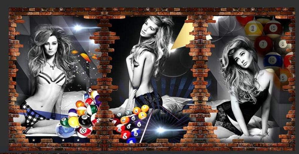 Dzrmb Fondo de Pantalla 3D Personalizado Imagen de Billar Pared Fondo de Billar Pared Sala de Billar decoración de Papel Tapiz de Tenis de Mesa @ 430x300_cm_ (169.3_by_118.1_in_) _