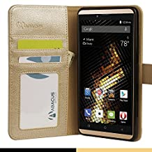 Abacus24-7 BLU Vivo XL Case, Leather Wallet w/ Flip Cover and Stand, Gold