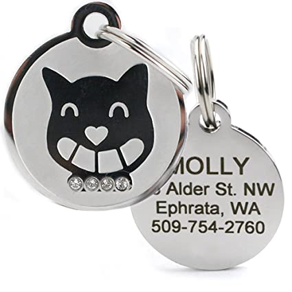 52c40bd53074 Designer Personalized Cat & Dog ID Tags. Stainless Steel Pet ID Tag, Custom  Engraved