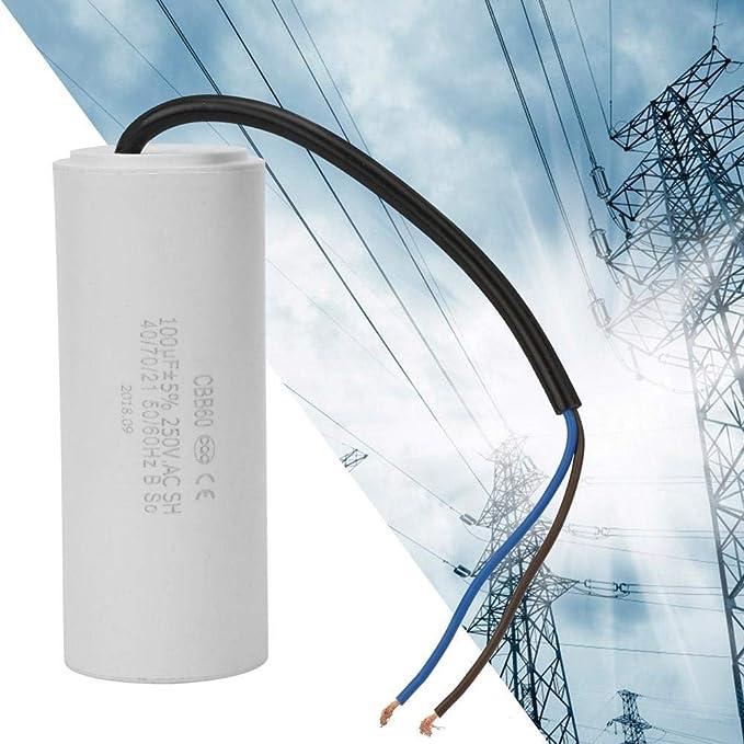 CBB60 Condensador de Funcionamiento con Cable Conductor 250V CA 100uF 50//60Hz para compresor de Aire de Motor//acondicionadores de Aire Denash Condensador