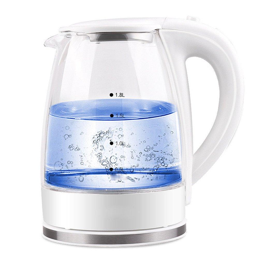 LifeEasyTool Elektrischer Wasserkocher Glas Wasser Topf Auto Abschaltung Teekessel und Abnehmbare Basis Schnell Kochen Wasserkessel 1.8L 1850W