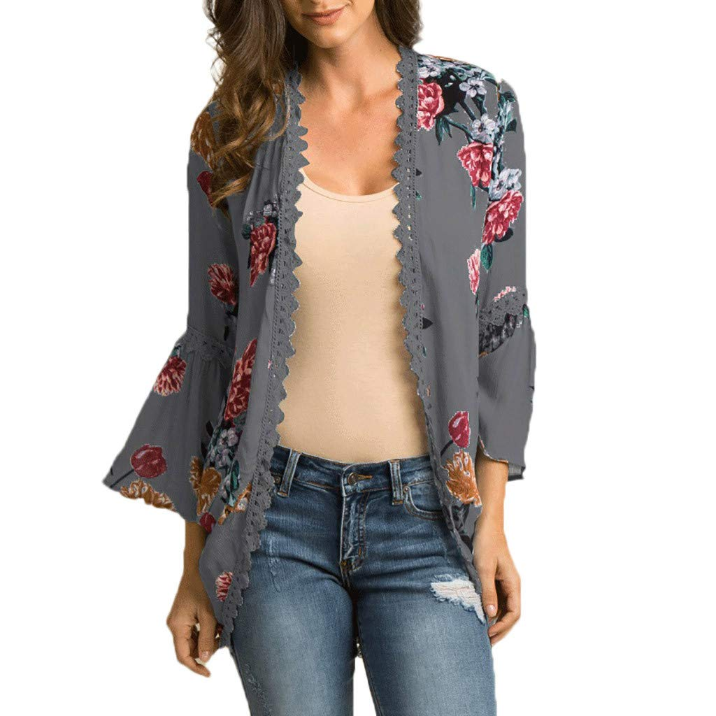 Eduavar Womens Blouses Women's Sheer Chiffon Floral Kimono Cardigan Long Blouse Loose Tops Outwear for Women