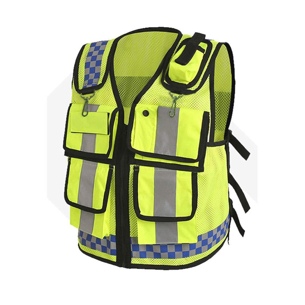 Q Ian l Ij i AJ i- リフレクティブベスト - 黄色の安全ベストベストの視認性は、リフレクティブなリフレクティブなセキュリティベストの男性用女性反射性のストリップジョギング、ランニング、バイクライダー、交通、労働者、倉庫 反射警告ベスト  B07RCWN1FP