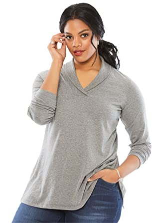 4dc26db39991a Roamans Women s Plus Size Shawl Collar Ultimate Tee at Amazon Women s  Clothing store