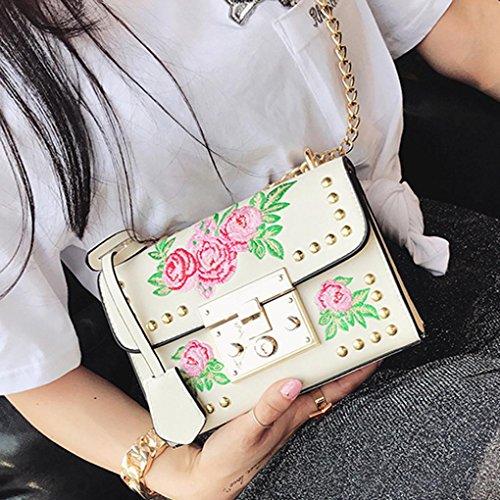 Zarupeng Frauen Kuriertaschen Stickerei Rose Kette Crossbody Schultertaschen Weiß
