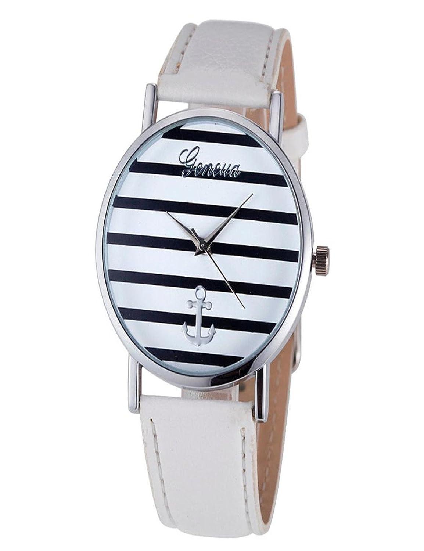 Dreamanエレガントレディースストライプアンカーアナログレザークォーツ腕時計 38MM マルチカラー  B0771JHYCF