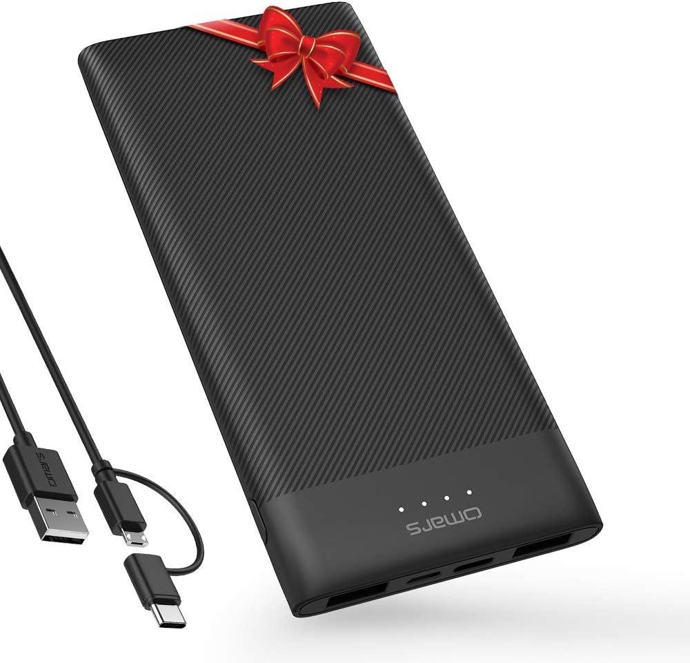 Omars Batería Externa 10000mAh Ultra Slim 4 Puertos - Powerbank con 1 x USB C/2 x USB A Puertos 3 Salidas, Cargador Portátil ultra fina para iPhone, Huawei, HONOR, Samsung phones
